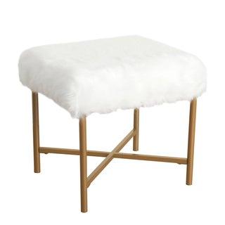 HomePop Faux Fur White Square Stool