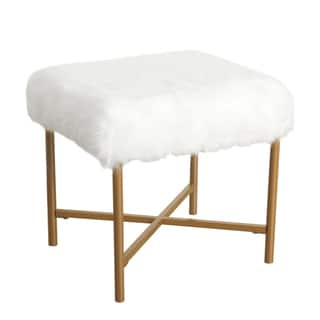 Silver Orchid Kelly Faux Fur White Square Stool