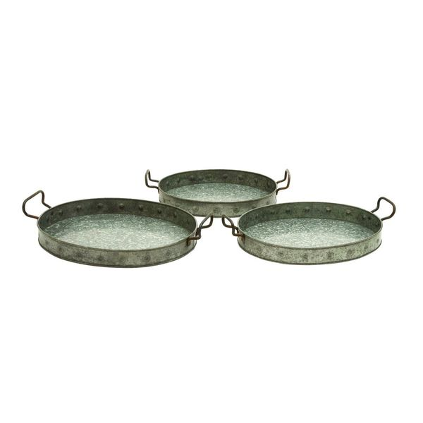 Metal Galvn Serving Trays (Set of 3) 19547639