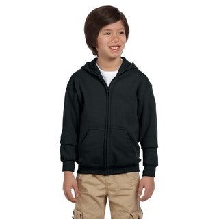 Heavy Blend Boy's Black Cotton and Polyester Full-Zip Hooded Sweatshirt