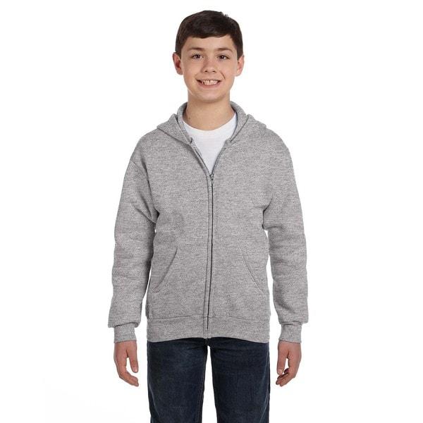 Comfortblend Boy's Ecosmart Grey Polyester Full-Zip Hoodie