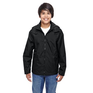 Conquest Boy's Black Nylon and Polyester Jacket with Fleece Lining