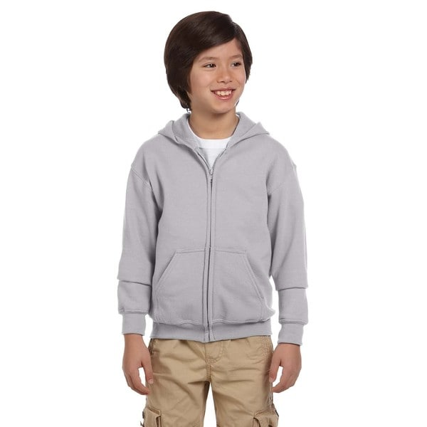 Heavy Blend Boys' Sport Grey Full-Zip Hooded Sweatshirt