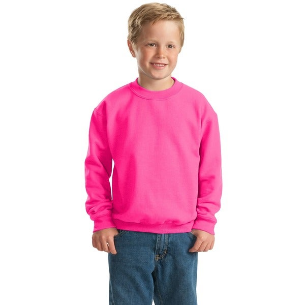 Heavy Blend Boys' Safety Pink Crew Neck Sweatshirt