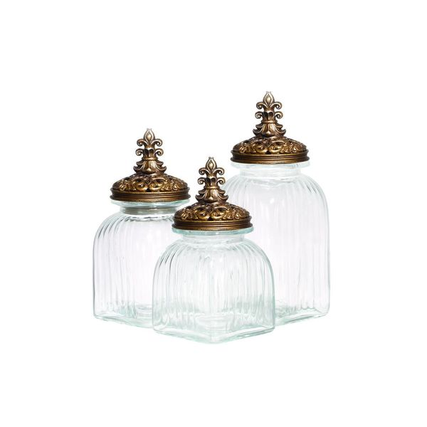 Gold, Clear Glass Storage Containers (Set of Three)