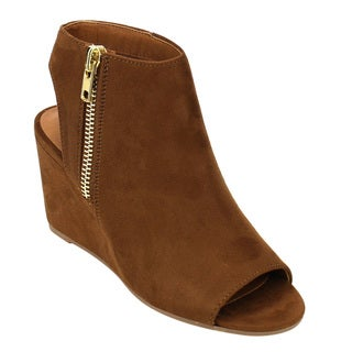 Delicious FC90 Women's Side Zipper Cutout Back Ankle High Wedge Booties