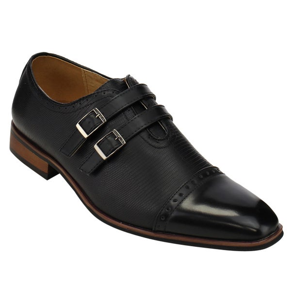 MIKO LOTTI FC77 Men's Double Monk Strap Cap Toe Slip On Dress Shoes