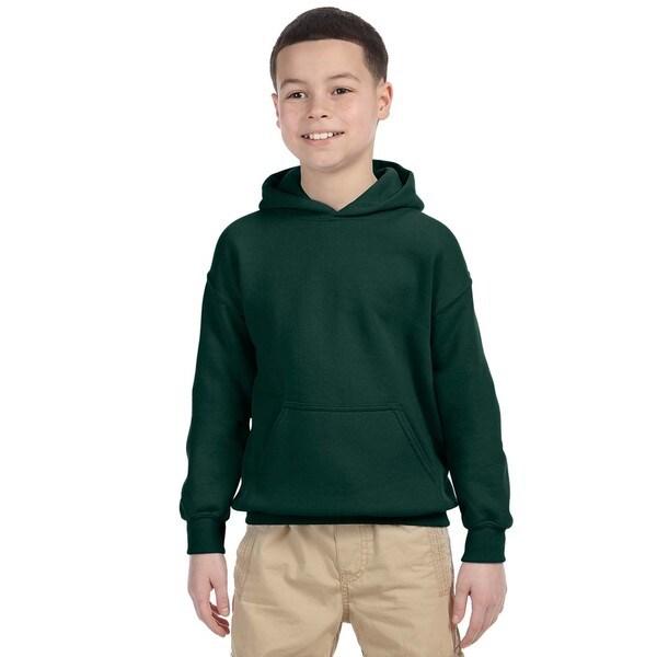 Gildan Boys' Forest Green Heavy Cotton-blend Hooded Sweatshirt