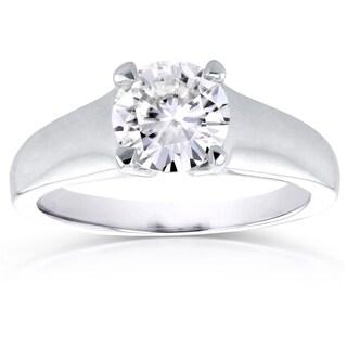 Annello 14k White Gold 1ct Round Moissanite Classic Solitaire Ring