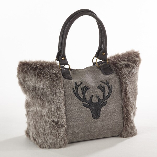 Taleen Collection Faux Fur Reindeer Design Handbag