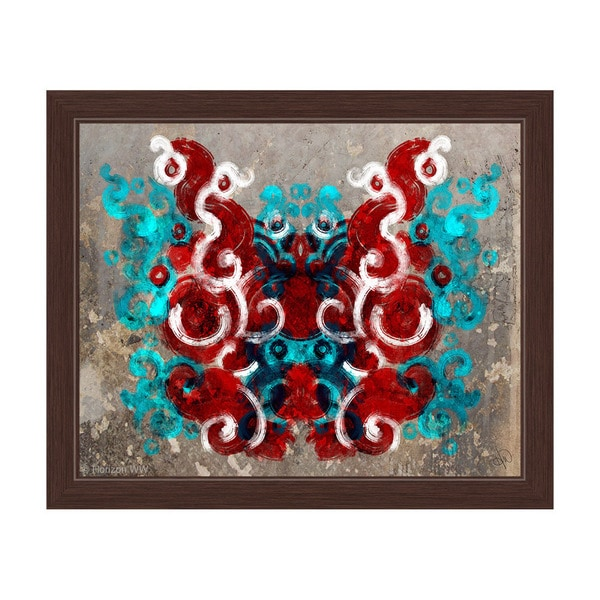 Rorschach Moth Urban Brown- Cyan Red Framed Graphic Art