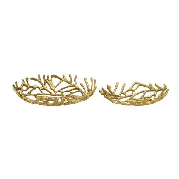 Gold Metal Serving Bowls (Set of Two)