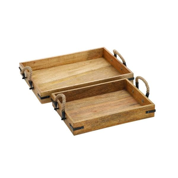 Set of 2 Distressed Oak Wood Serving Trays