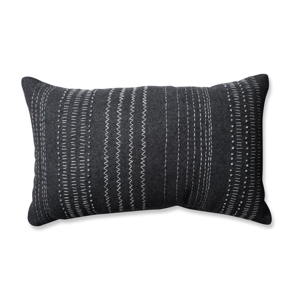 Pillow Perfect Tribal Stitches Felt Dark Melange Grey Rectangular Throw Pillow