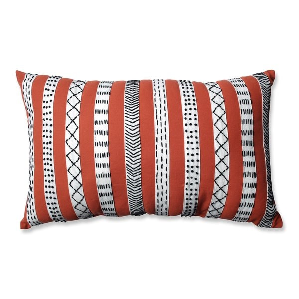 Pillow Perfect Tribal Bands Rust-Cream-Black Rectangular Throw Pillow