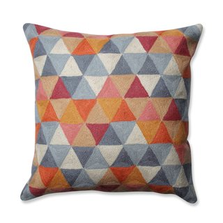 Pillow Perfect Triangle Grid Citrus-Grey 16.5-inch Throw Pillow