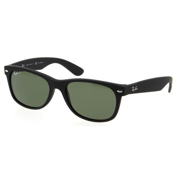 Ray-Ban RB2132 622/58 New Wayfarer Black Frame Polarized Green 52mm Lens Sunglasses
