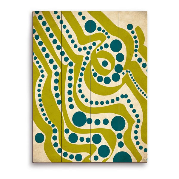 Waves and Seaweed Graphic on Wood