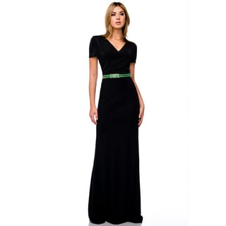 DFI Women's Short Sleeve Beaded Waist Long Evening Gown