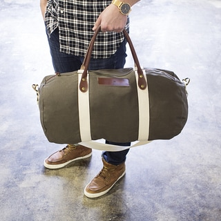 Personalized Green Canvas and Leather Duffle Bag