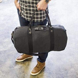 Personalized Black Canvas & Leather Duffel Bag