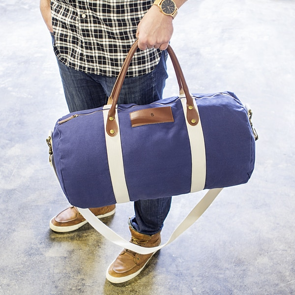 Personalized Navy Canvas & Leather Duffle Bag