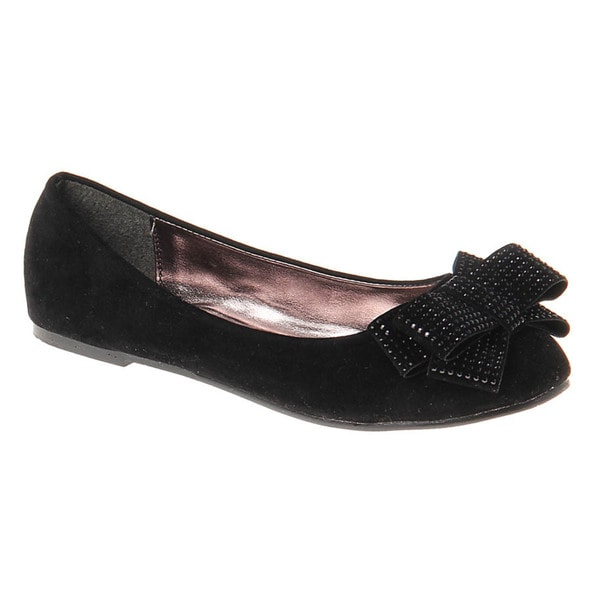 Kensie Girls' Suede Sparkle Bow Ballerinas
