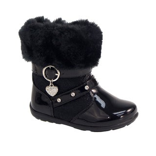 Laura Ashley Girls' Heart Charm Sparkle Boots