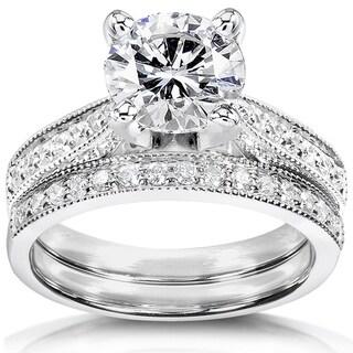 Annello 14k White Gold 1 1/2ct Round Moissanite and 1/3ct TDW Diamond Pave Milgrain Bridal Set (G-H, I1-I2)