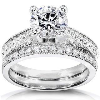 Annello 14k White Gold 1ct Round Moissanite and 1/3ct TDW Diamond Pave Milgrain Bridal Set (G-H, I1-I2)