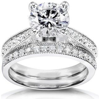 Annello 14k White Gold 1 7/8ct Round Moissanite and 1/3ct TDW Diamond Pave Milgrain Bridal Set (G-H, I1-I2)