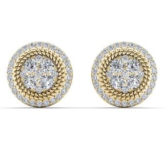 De Couer 10k Yellow Gold 5/8ct TDW Diamond Halo Frame Cluster Stud Earrings (H-I,I2)