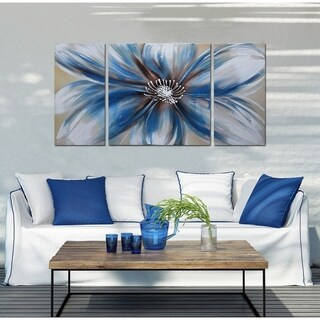Handpainted 'Abstract Flower 681' 3-piece Multicolored Gallery-wrapped Canvas Art Set