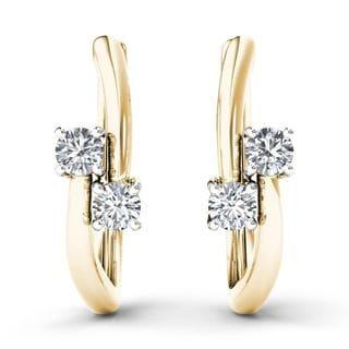 De Couer 10k Yellow Gold 1/3ct TDW Diamond Two-Stone Diamond Hoop Earrings (H-I,I2)