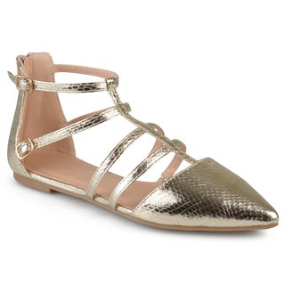 Journee Collection Women's 'Kenya' Strappy Pointed Toe Flats