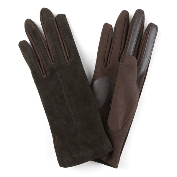 Journee Collection Women's Lined Leather Suede Touchscreen Gloves