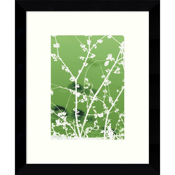 Framed Art Print 'Autumn Branch (green)' by Jenny Kraft 9 x 11-inch