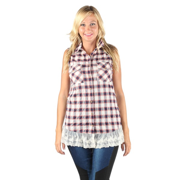 Hadari Woman butten done plaid shirt with lace trim