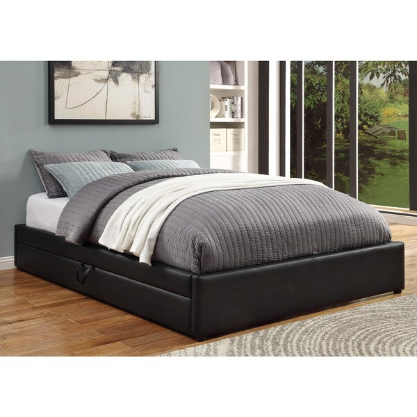 Black Faux Leather Queen-size Storage Bed