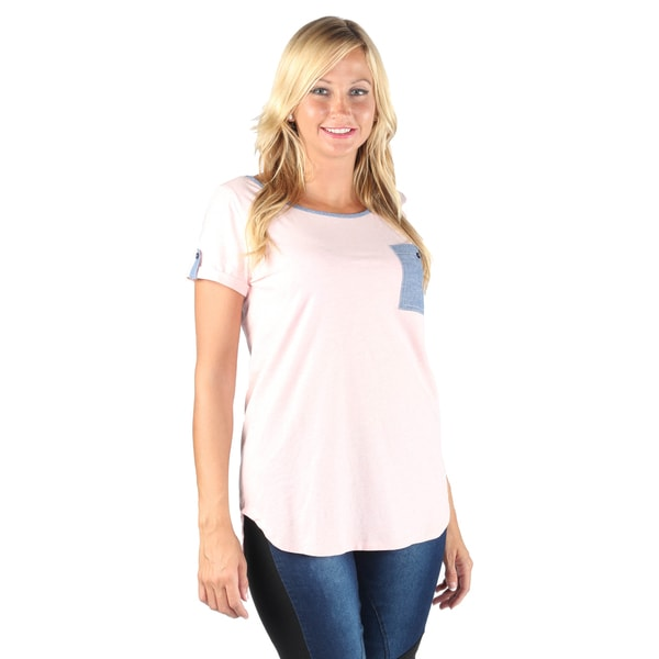 Hadari Women's Pink pocket color block T-shirt