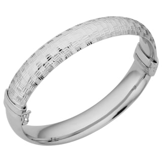 Argento Italia Rhodium Plated Sterling Silver 11.7-mm Diamond-cut and Polished Hinged Bangle