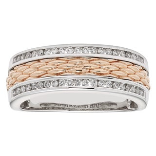Sofia Men's 14k White and Rose Gold 1/3ct TDW Round-cut Diamond Wedding Band (H-I I1)