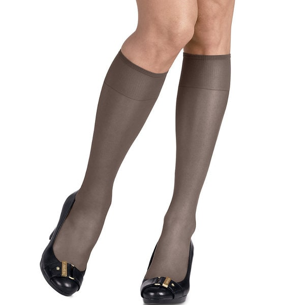 Silk Reflections Women's Silky Sheer Barely Black Knee Highs (Pack of 2)
