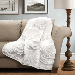 Lush Decor White Floral Fiorella Throw