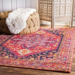nuLOOM Persian Medallion Pink Rug (4' x 6')