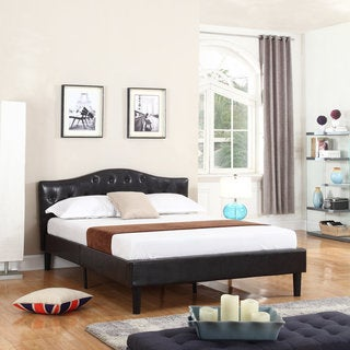 Classic Deluxe Bonded Leather Platform Bed with Wooden Slats in Espresso Brown