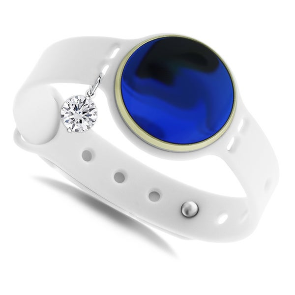 GlamSport Bleu Ice White 8-inch Fitness Tracker Band With Cubic Zirconia Charm