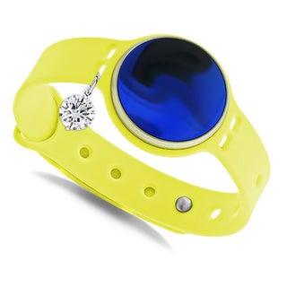 Glamsport Bleu Ice Lemon Band Fitness Tracker with Cubic Zirconia Charm