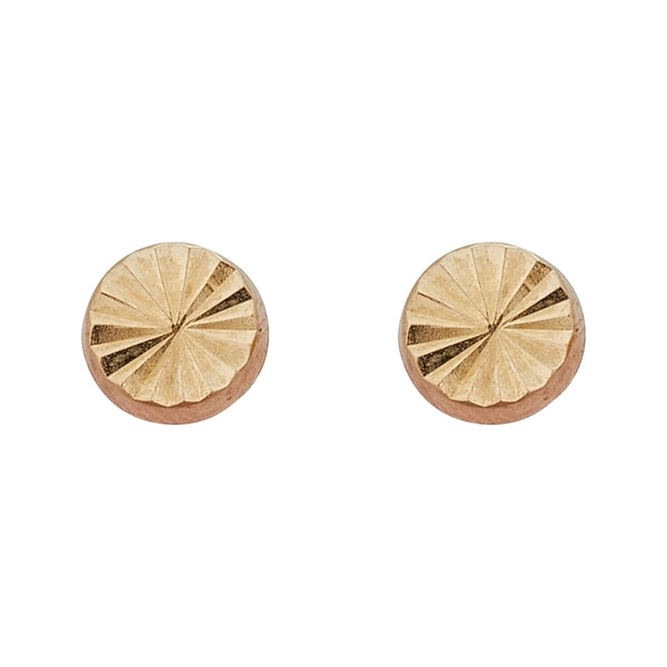 Decadence 14K Yellow Gold Diamond Cut Circle Hat Stud Earring