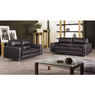 Shoreline Chocolate Italian Leather Sofa And Chair